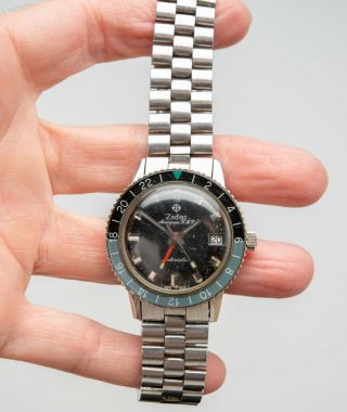Vintage 1969 ZODIAC Aerospace GMT Watch Black Gray Bezel Automatic Space Craft 2
