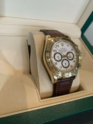Rolex Daytona 18k Yellow Gold White Dial Chronograph Watch with Zenith Mo 16518 10
