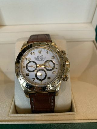 Rolex Daytona 18k Yellow Gold White Dial Chronograph Watch with Zenith Mo 16518 3