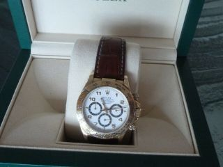Rolex Daytona 18k Yellow Gold White Dial Chronograph Watch with Zenith Mo 16518 6