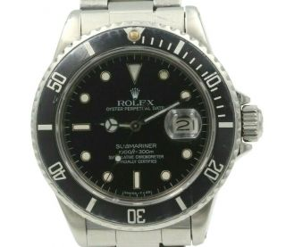 Rolex Oyster Perpetual Date Submariner 16800 Stainless Mens Wristwatch 6353
