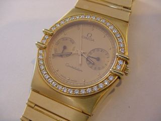 Awesome Mens 18k Solid Gold Omega Constellation Day Date 40 Diamond Bezel