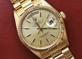 Rolex 18k President Day Date 18038 From 1985