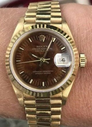 Ladies Rolex Oyster Perpetual Datejust 18ct Gold Wood Dial W/ Box & Papers