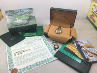 Rolex Yacht - Master 18k Gold 35mm Slate Oyster Mid Size Watch Papers Box.
