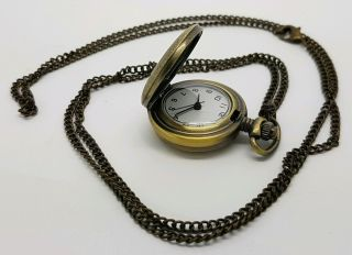 Ladies Vintage Pendent Pocket Watch Gold Plated With Chain Battery (p)