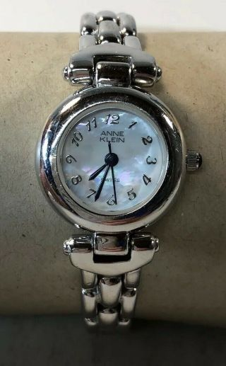 Anne Klein Women's Wrist Watch Silver Band Mother Of Pearl Face