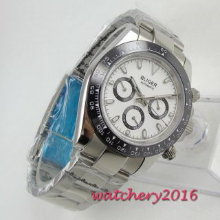 39mm Bliger White Dial Ceramic Bezel Glass Solid 316l Case Automatic Mens Watch