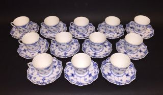 12 Cups & Saucers 1038 - Blue Fluted Royal Copenhagen - Full Lace 1:st Quality