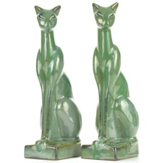 "Arts & Crafts/deco Fulper Pottery Green Crystalline 9 1/2 "" Cat Bookends C1939"