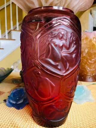 """Lalique Cranberry Crystal Reclining Nudes Hesperides Vase 9.  3"""" Tall Perfection"""