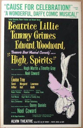 Triton Offers Orig 1964 Broadway Poster High Spirits Bea Lillie Tammy Grimes