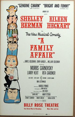 Triton Offers Orig 1962 Broadway Poster A Family Affair Harold Prince Musical