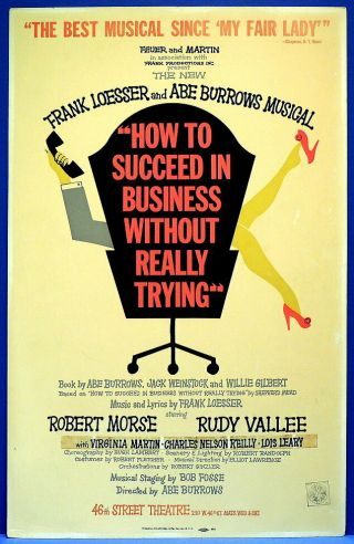 Triton Offers Rare Orig Cast 1961 Broadway Poster How To Succeed In Business.