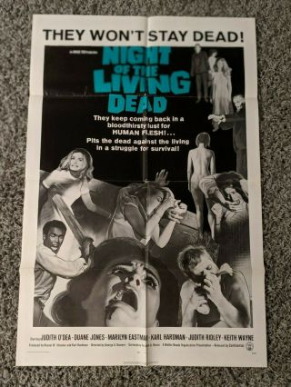 Night Of The Living Dead One Sheet Movie Poster George Romero Zombies