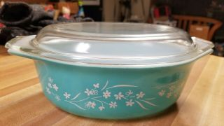 Vintage Pyrex Turquoise Casserole Trailing Vines,  Htf And Rare