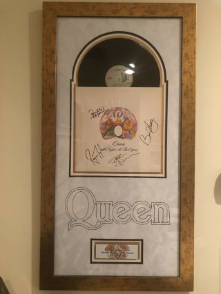Queen - A Night At The Opera Autographed Album,  Framed, .  Bohemian Rhapsody