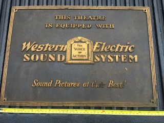 Rare Western Electric Sound System Theater Sign 1920 - 30s Movies