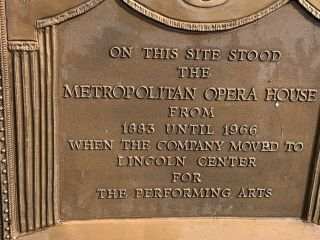 Rare Metropolitan Opera House Bronze Sign Plaque NYC Old Theater 3