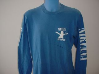 Nirvana Nevermind U.  K.  Tour 1991 Xl T Shirt Long Sleeve Cat Hair