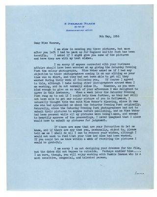 Marilyn Monroe Recvd Cecil Beaton 1956 Signed Typed Letter Important Content