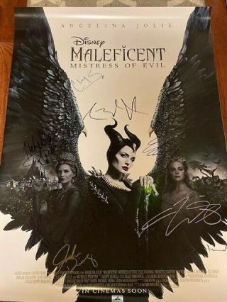 Maleficent Mistress Of Evil Ds Movie Poster Cast Signed Premiere Angelina Jolie