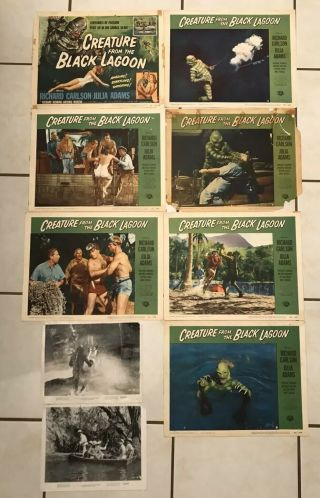Set Of 7 Lobby Cards 1954.  Creature From The Black Lagoon & 2 B/w Photo Monster