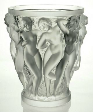 Lalique France Bacchantes Vase 1927 Design Signed