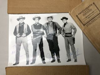 Signed Bonanza Photo Lorne Greene Pernell Roberts Dan Blocker Michael Landon