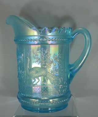 Peacock At The Fountain Pitcher,  Ice Blue: