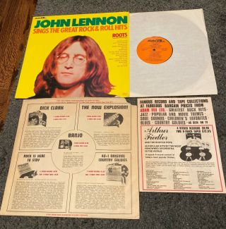John Lennon - Roots Lp - Adam Viii - Rare With Printed Inner Sleeve & Order Form