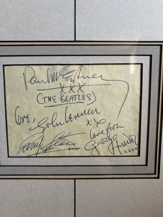 The Beatles Signed 6x3 Card With 2