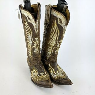 Miranda Lambert Old Gringo Brown & Gold Leather Cowboy Boots Size 8.  5 B