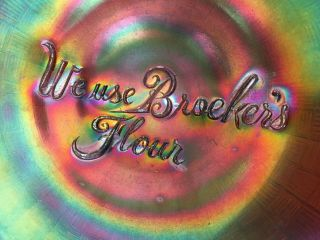 Very Rare Northwood Carnival Glass Advertising Plate - We Use Broeker's Flour 6