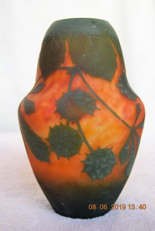 C.  1900 Daum Nancy Cameo Art Glass Vase Devils Trumpet Pod Milkweed Sea Mine