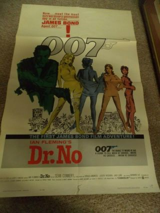"Dr.  No (1962) Sean Connery As James Bond One Sheet Poster 27 "" By41 """