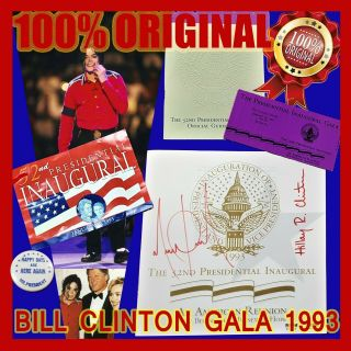 Michael Jackson Hand Signed Bill Clinton Gala 1993 Psa Autograph Smile Award