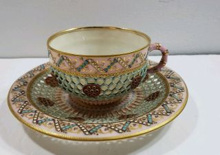 Royal Worcester Reticulated Dbl Walled Enameled Jeweled Tea Cup & Saucer 1860