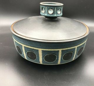 """Rare Harrison McIntosh Ceramic Bowl/ Vessel With Lid Modern Pottery Stamped 7"""" 2"""
