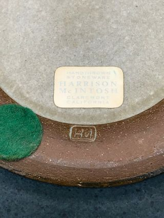"""Rare Harrison McIntosh Ceramic Bowl/ Vessel With Lid Modern Pottery Stamped 7"""" 6"""