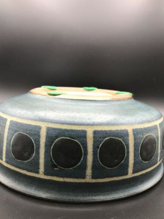 """Rare Harrison McIntosh Ceramic Bowl/ Vessel With Lid Modern Pottery Stamped 7"""" 7"""