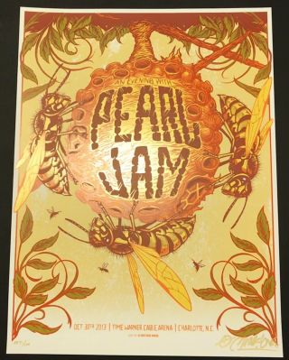 Pearl Jam Concert Poster - Munk One Signed/ 'd Ap 31/100 - 10.  30.  31 Charlotte Nc