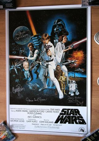 Star Wars One Sheet Poster Multi Signed Carrie Fisher Peter Mayhew And More