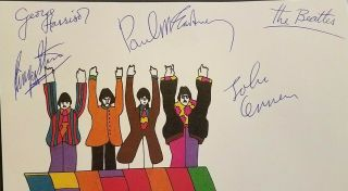 THE BEATLES Band Members Signed Autographed Yellow Submarine Letterhead 2