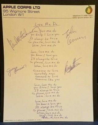 "The Beatles Band Members Signed Autographed "" Love Me Do "" Lyrics Apple Corps Ltd"