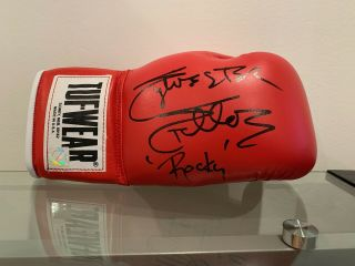 "Sylvester Stallone "" Rocky "" Inscription Autographed Tuf Wear Red Glove Asi Proof"
