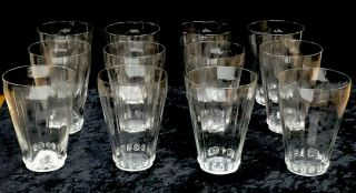 Very Rare Vintage Set Of 12 Signed Rene Lalique Graines Large Drinking Glasses R