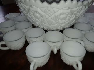 Rare Imperial Milk Glass Punch Bowl Set With 24 Cups Mid Century