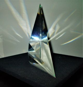 "Stunning Christopher Ries 12 "" Crystal Optical Art Glass Sculpture Signed/dated"