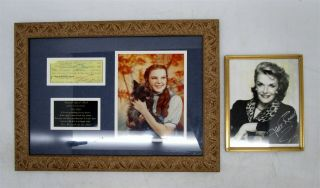 Autographed Photo Jane Russell & Presentation - Framed Judy Garland Photo & Check